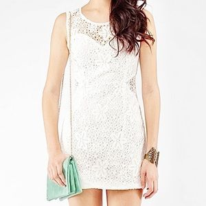 Sleeveless Cream Floral Lace Mini Dress